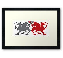 Rampant dragons grey and red  Framed Print