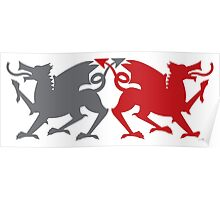Rampant dragons grey and red  Poster