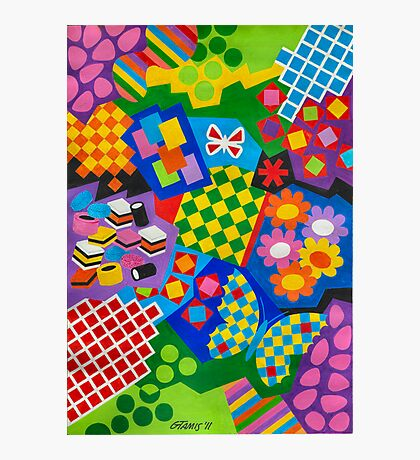 Color And Chapes With Squares - English Liquoris - Brush And Gouache Photographic Print