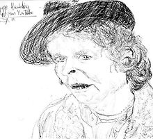 Maggie Hambling on YouTube -(260711)- Biro pen/black ink by paulramnora