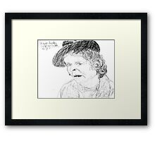 Maggie Hambling on YouTube -(260711)- Biro pen/black ink Framed Print