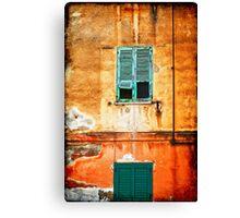 Italian green shutters Canvas Print