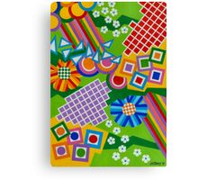 Color And Shapes With Squares And 2 Big Flowers - Brush And Gouache Canvas Print