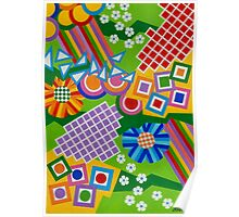 Color And Shapes With Squares And 2 Big Flowers - Brush And Gouache Poster