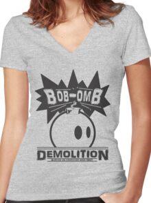 Bob-Omb Demolition Women's Fitted V-Neck T-Shirt