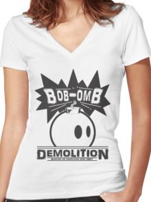 Bob-Omb Demolition Women's Fitted V-Neck T-Shirt