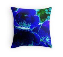 Fractal Flower Blue Throw Pillow