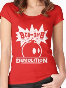 Bob-Omb Demolition White Women's Fitted Scoop T-Shirt