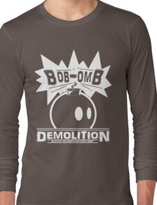 Bob-Omb Demolition White Long Sleeve T-Shirt