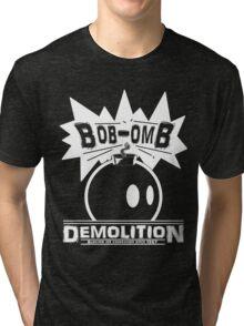 Bob-Omb Demolition White Tri-blend T-Shirt