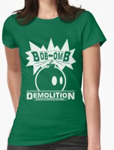 Bob-Omb Demolition White Womens Fitted T-Shirt
