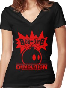 Bob-Omb Demolition red Women's Fitted V-Neck T-Shirt