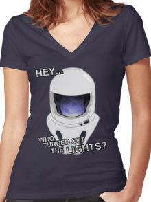 """Hey Who Turned Out The Lights"" Women's Fitted V-Neck T-Shirt"