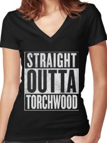Straight Outta Torchwood Women's Fitted V-Neck T-Shirt