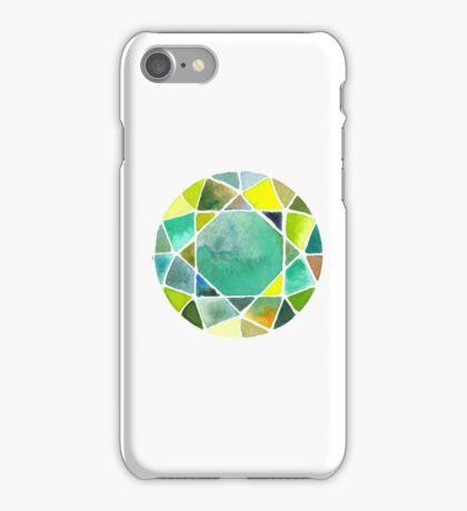 Green watercolor diamond iPhone Case/Skin