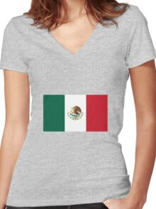 Mexico Flag Women's Fitted V-Neck T-Shirt
