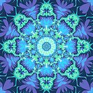 Kaleidoscope design with aquamarine star and tribal patterns by walstraasart