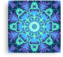 Kaleidoscope design with aquamarine star and tribal patterns Canvas Print