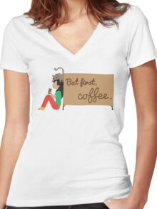 Coffee Sign Women's Fitted V-Neck T-Shirt