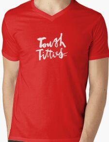Tough Titties : White Script Mens V-Neck T-Shirt