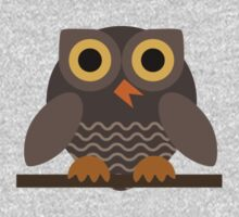 Sitting Grey Owl  One Piece - Short Sleeve