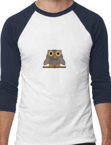 Sitting Grey Owl  Men's Baseball ¾ T-Shirt