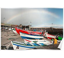 Rainbow at the harbour Poster