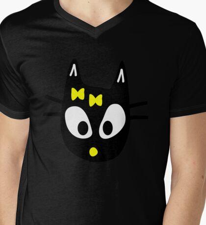 Black Cat Mens V-Neck T-Shirt