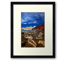 red beach and blue sky Framed Print