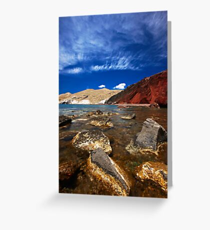 red beach and blue sky Greeting Card