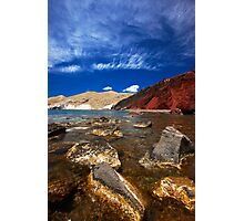 red beach and blue sky Photographic Print