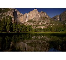 Yosemite Falls Night Reflections Photographic Print