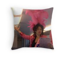 Karaoke in the train on Pink Monday Throw Pillow
