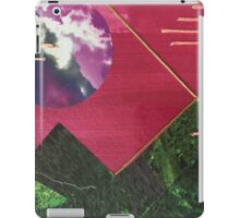 """landscape collage inspired by geometry and nature desktop art """"mountain night"""" perfect small gift original art thread green framed iPad Case/Skin"""