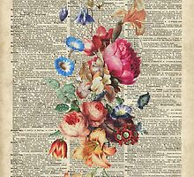 Bunch Of Flowers Over Old Book Page by DictionaryArt