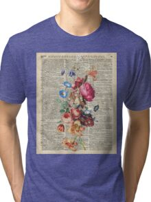 Bunch Of Flowers Over Old Book Page Tri-blend T-Shirt