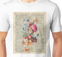 Bunch Of Flowers Over Old Book Page Unisex T-Shirt
