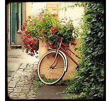 La bicyclette aux Géraniums Photographic Print