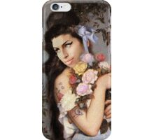 Amy Winehouse in a Rose Garden  iPhone Case/Skin
