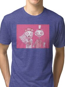 Pink Skelly Bride and Groom Tri-blend T-Shirt