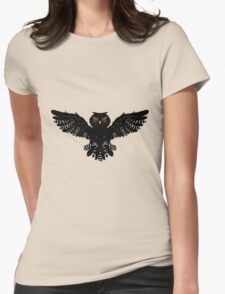 Black Owl 2 Womens Fitted T-Shirt