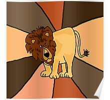 Funny Funky Lion Abstract Art Original Poster