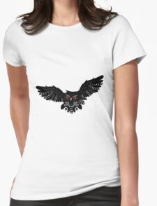 Black Owl 3 Womens Fitted T-Shirt