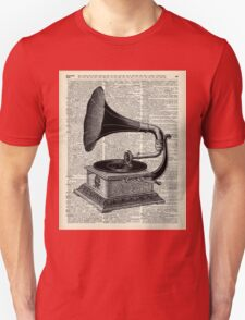 Vintage Gramophone Record Player Dictionary Art T-Shirt