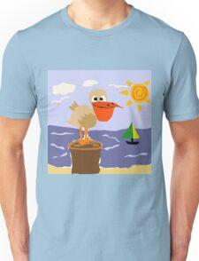 Funny Pelican and Sun Beach Art Unisex T-Shirt