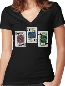 The Three Cards - Markiplier, PewDiePie and Jacksepticeye Women's Fitted V-Neck T-Shirt