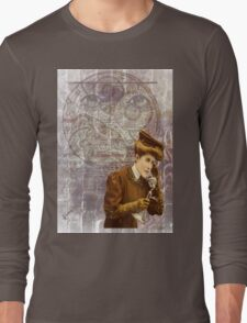 Steam Punk Lady Telephone Gears Long Sleeve T-Shirt