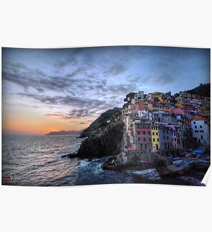 Sunset at Riomaggiore Poster