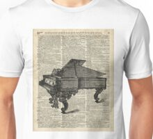 Old Vintage Grand Piano Over Dictionary Page Unisex T-Shirt