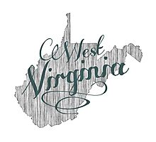 West Virginia State Typography Photographic Print